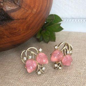 Coro Vintage Pink Tulip Clip Earrings